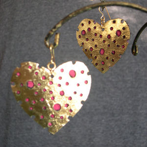 Leather Heart 2 Tone Boutique Designer Earrings.